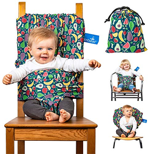 The totseat Portable Travel highchair (Multi-Coloured Fruit Design)   Compact Material Chair Harness converting All Dining Chairs into highchairs (6-30months)   Washable