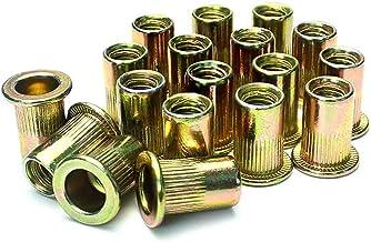 LUCY WEI M6 Plated Carbon Steel Klinknagel Moer Threaded Insert,60 Stks M6 Verzinkt Platte Hoofd Aluminium Moer Cap Rivnut...