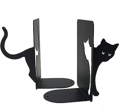PandS Cute Cat Bookends - Cat Home Decor - Decorative Bookends - Bookends for Shelves – Bookends for Heavy Books – Metal Book