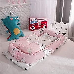 YANGGUANGBAOBEI Baby Lounger Cushion 100  Organic Cotton Breathable And Hypoallergenic Sleep Nest Newborn Lounger Cuddly Baby Sleeping Pod J