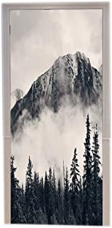 A.Monamour Canadian National Park Foggy Smokey Cliff Mountains Forest Nature Landscape Scenery Monochrome Black And White Art Printed Vinyl Room Door Decals Wallpaper Wall Murals Door Stickers Posters