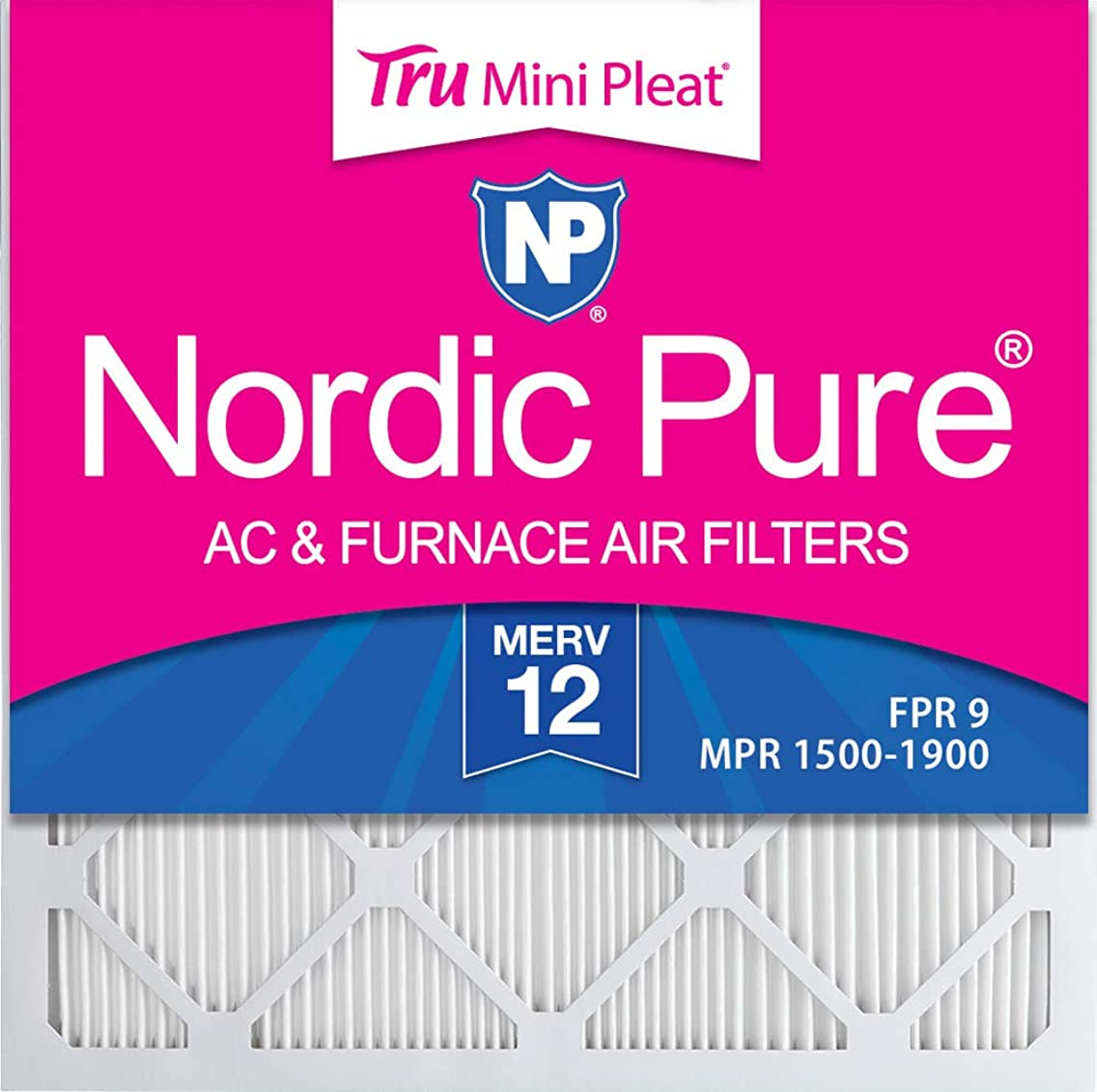 Nordic Pure 12x12x1 MPR 1500 Healthy Living Ultra Allergen Reduction Replacement AC Furnace Air Filters 3 Pack
