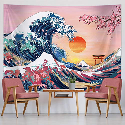 Ocean Wave Tapestry Sunset Tapestry Wall Hanging Japanese Kanagawa Tapestry Great Wave Cherry Blossom Nature Backdrop Tapestry for Japanese Party Wall Home Decorations (59 x 78.7 Inch)