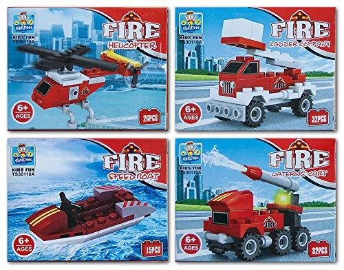 diverse 4 x Bausteine Baustein Bausatz Fahrzeuge Feuerwehr 15-32 teilig