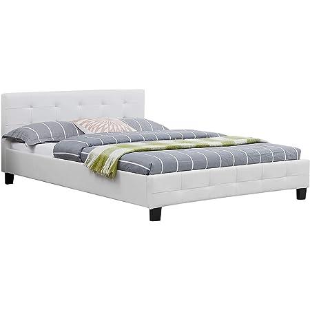 IDIMEX Lit Double pour Adulte Mathieu Couchage 140 x 190 cm avec sommier 2 Places / 2 Personnes, tête et Pied de lit capitonnés, revêtement synthétique Blanc