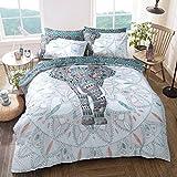 Sleepdown - Juego de Funda de edredón Reversible con diseño de Elefante y Mandala, Color Azul...