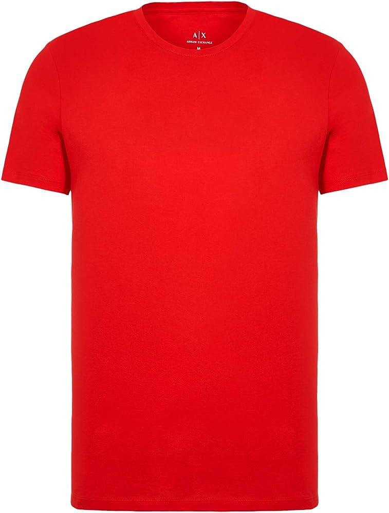 Armani exchange pima small logo, t-shirt per uomo a maniche corte, maglietta AL 100% cotone 8NZT74ZJA5Z