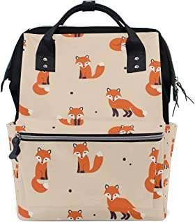 TropicalLife Cute Animal Fox Diaper Backpack Large Capacity Baby Bags Multi-Function Zipper Casual Travel Backpacks for Mom Dad Unisex