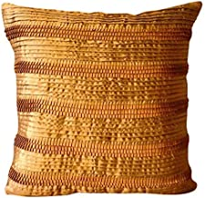 Luxury Gold Decorative Zippered Throw Pillow Covers 40x40 cm, Satin Throw Pillows for Couch, Striped, Pintucks, Textured, ...
