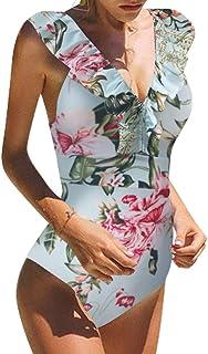 Traje De Baño Mujer Una Pieza Moda Monokini Push Up Brasileño Rayas Floral Impresión Baño Bañador Traje Bikini Bañadores De Mujer Tallas Grandes Ropa de Baño Cuello en V