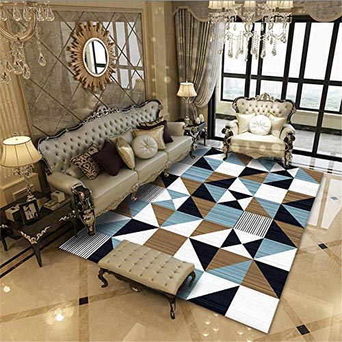 WBDYMX Zacht antislip groot tapijt voor binnen Gemakkelijk schoon te maken, elastisch, sterk zwart en wit geometrisch ontwerp, antislip open haard tapijt