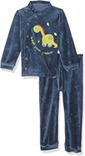 El Sayaad Embroidered Dinosaur Long Sleeves Crew Neck Snap Top with Patterned Pants Pajama Set for Boys