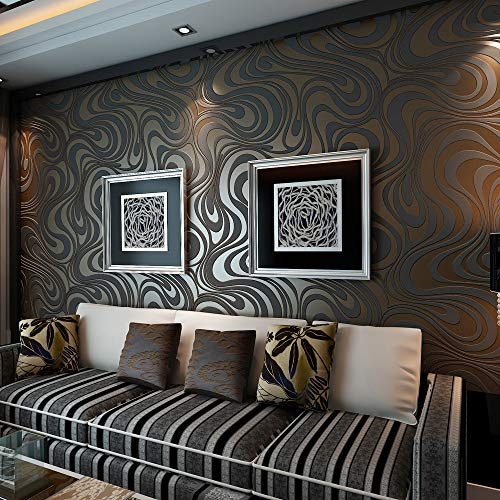QIHANG Modern Luxury Abstract Curve 3d Wallpaper Roll Mural Papel De Parede Flocking for Striped Black&brown Color Qh-wallpaper 0.7m x 8.4m=5.88㎡