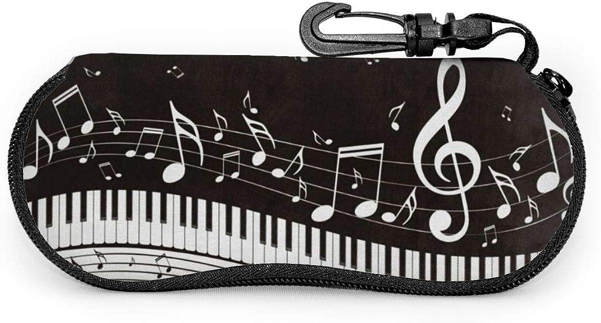 Piano Keys Musical Glasses Case Unisex Eyeglasses Protective Case Zipper Eyeglass Box With Key Chain Universal Fits