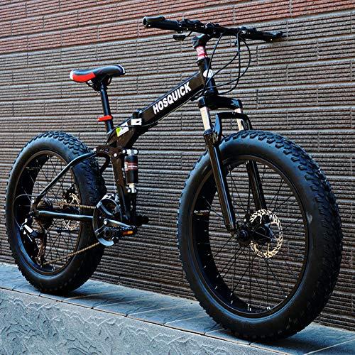 WJH Fat Tire Herren Mountainbike High Carbon Stahlrahmen mit Variabler Geschwindigkeit Doppelstoßdämpfung Faltbare Fahrrad, geeignet für Menschen mit Einer Höhe von 135-190CmSchwarz,7 Speed 26 inch