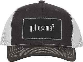 One Legging it Around got Osama? - Leather Black Metallic Patch Engraved Trucker Hat