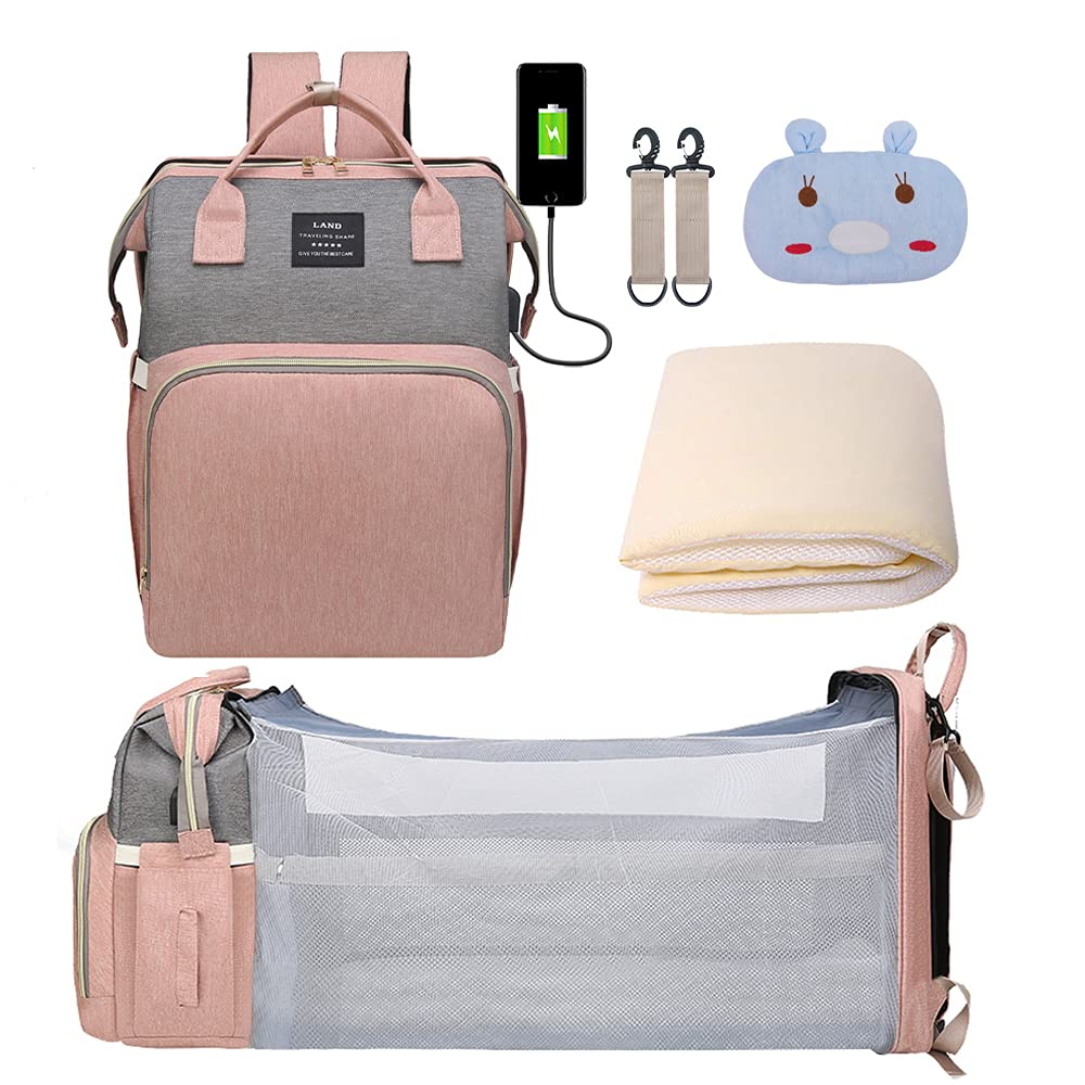 Baby Diaper Bag Backpack, 3 in 1 Baby Diaper Bags Multifunction Travel Back Pack with Changing Pad & Stroller Straps, Large Capacity, Waterproof and Fashion