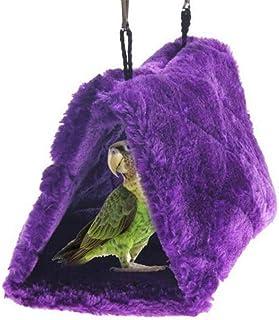 SAPPSEN Winter Warm Plush Pet Bird Hut Nest Hammock Hanging Cage Warm Nest Happy Snuggle Cave Tent Sun Conure Green Cheek ...
