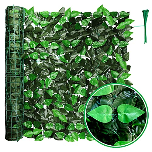 """Artificial Faux Ivy Privacy Fence Screen, 119.5"""" x 39"""" Artificial Hedges Fence and Faux Ivy Vine Leaf Decoration for Outdoor Decor, Indoor Decor, Party, Wedding Decor."""