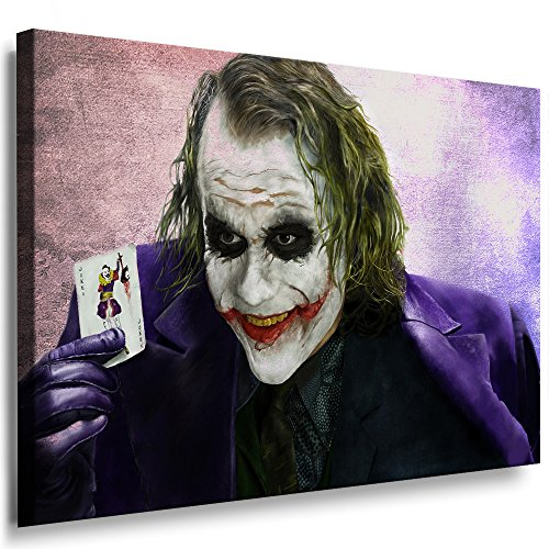 Boikal / Leinwand Bild Joker - Film Batman Heath Ledger Leinwanddruck, Kunstdruck fm31 Wandbild 100 x 70 cm