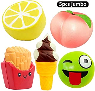 DANCING LEAVES 5pcs Jumbo Squishies, Lemon, Peach, Ice Cream Cone, Emoji Bun, French Fries, Slow Rising Squeeze Kawaii Squishies Scented Charms Hand Wrist Stress Relief Toys