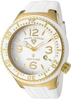 Swiss Legend Neptune Men's White Dial Rubber Band Watch [SL-21848P-YG-02]