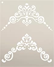 Border Scroll - Corners Embellishment Stencil by StudioR12   Reusable Mylar Template   Use to Paint Wood Signs - Furniture - Accents - Cabinets - DIY Home Decor - Select Size (9