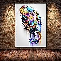 油絵 キャンバス カラーカメレオン動物 3本の絵筆とアクリル顔料 壁アート 装飾 壁絵 おしゃれ プレゼント 30x40cm フレームレス