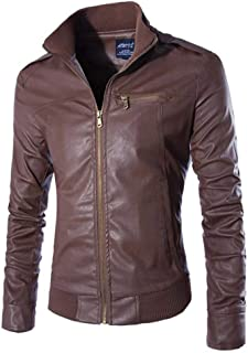 NRUTUP Winter Clothing, Men`s Casual Jacket Long Sleeve Solid Stand Zipper Leather Warm Top Suits & Sport Coats