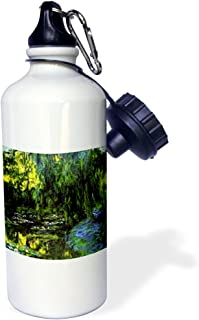 """3dRose wb_49303_1""""Monet Famous Painting Water Lillies n Weeping Willow"""" Sports Water Bottle, 21 oz, White"""