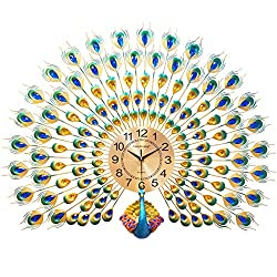 Peacock Wall Clock With Colorfull Rhinestone Decoration