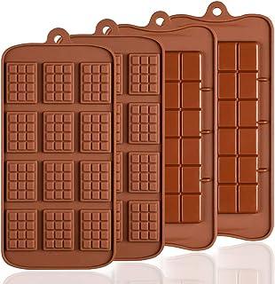 Lot de 4 moules en Silicone pour Chocolat, Senhai 2 Types d'Break Apart antiadhésif Candy Protéines et Energy Bar Moule à ...