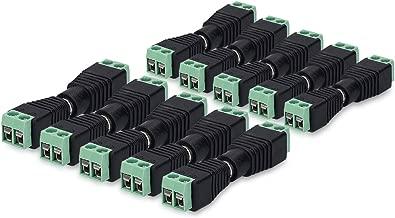 kwmobile 10x Conector adaptador power jack hembra a macho DC - Set de 10 conectores para cables de energía 12 V 5.5 x 2.1 MM - Adaptadores para CCTV