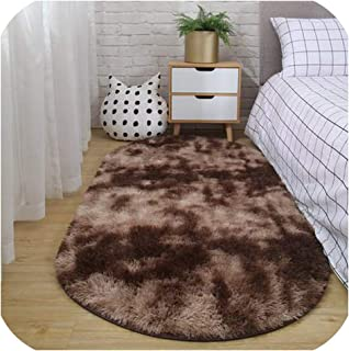 Mo Duo Carpet Bedroom Oval Bedside Carpet Living Room Sofa Coffee Table mat Floor Room Plush Rug not lint Non Fading Non Slip Blanket,1,80cm x 200cm