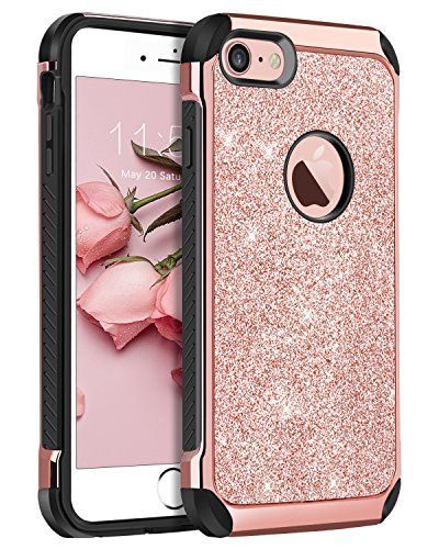 BENTOBEN Shockproof Case for iPhone 8 / iPhone 7, iPhone 8 Case Glitter, Luxury Ultra Slim Hybrid Hard PC Sparkly Shiny Leather Protective Case for iPhone 8 / iPhone 7 (4.7 inch), Rose Gold & Black