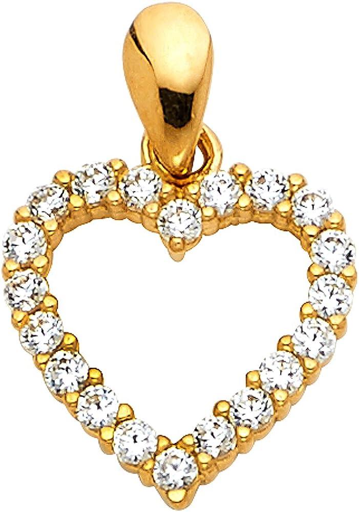14k White OR White Gold Open Heart CZ Charm Pendant