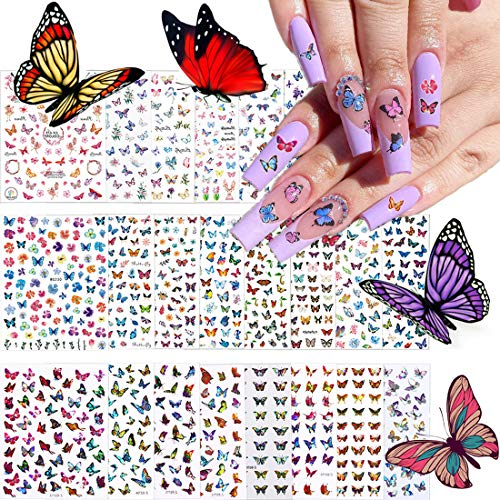 24 Sheets 3D Butterfly Nail Art Stickers Decals, Kalolary Self-Adhesive Butterfly for Nails Design Butterflies Flower Plant Nail Decals Sticker for Butterfly Decals Manicure Tips Decorations