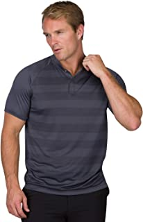 Golf Shirts for Men - Dry Fit Collarless Polo Shirts - Lightweight and Breathable, Stripe Design