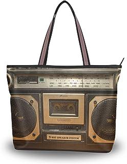 Ahomy Damen Strandtasche, Vintage-Stil, Radio-Kassettenrekorder, große Schultertasche für Damen