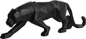 Homyl Abstract Leopard Statues Panther Sculpture Hand Craved Animal Resin Modern Home Decoration - Black