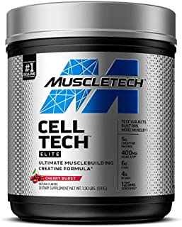 Creatine + BCAA Amino Acids | MuscleTech Cell-Tech Elite Creatine Powder | Creatine Monohydrate + Creatine HCl | Muscle Re...