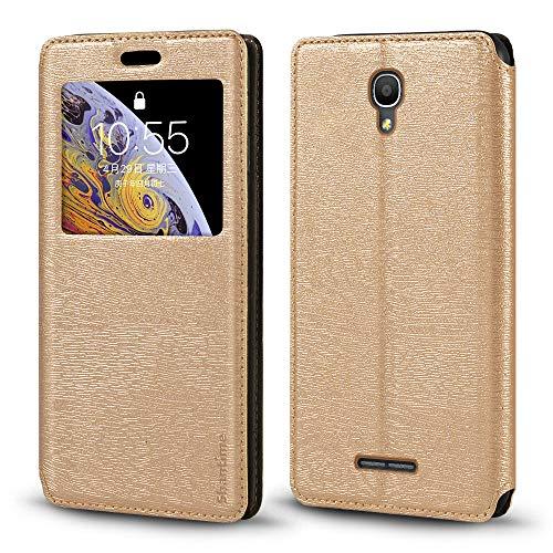 Funda para Alcatel Pop 4+, piel de grano de madera con tarjetero y ventana, tapa magnética para Alcatel Pop 4 Plus