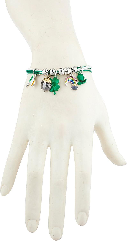 Lux Accessories White Green Saint Patrick Theme Clover Flag Hat Rainbow Bracelet