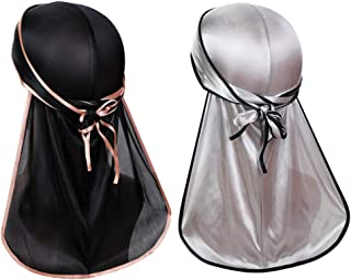 Super Soft Men Durag Headwraps (2 PCS) with Extra Long Tail and Wide Straps for 360 Waves