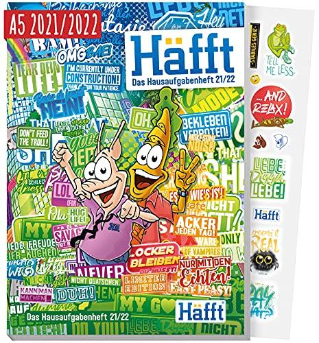 Häfft Original - Das Hausaufgabenheft 2021/2022 A5 [Stickermania] ultimativer Schülerkalender, Schülerplaner | nachhaltig & klimaneutral