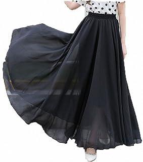 Afibi Womens Chiffon Retro Long Maxi Skirt Beach Ankle Length Skirt