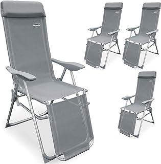 Deuba Set de 4 sillas Plegables de Aluminio con Respaldo Alto reclinable Transpirable Tumbona para jardín balcón terraza