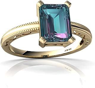 14kt Gold Lab Alexandrite 8x6mm Emerald_Cut Milgrain Scroll Ring
