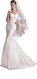 2 Tier Soft French Lace veils for brides ivory veils bridal wedding with comb 274