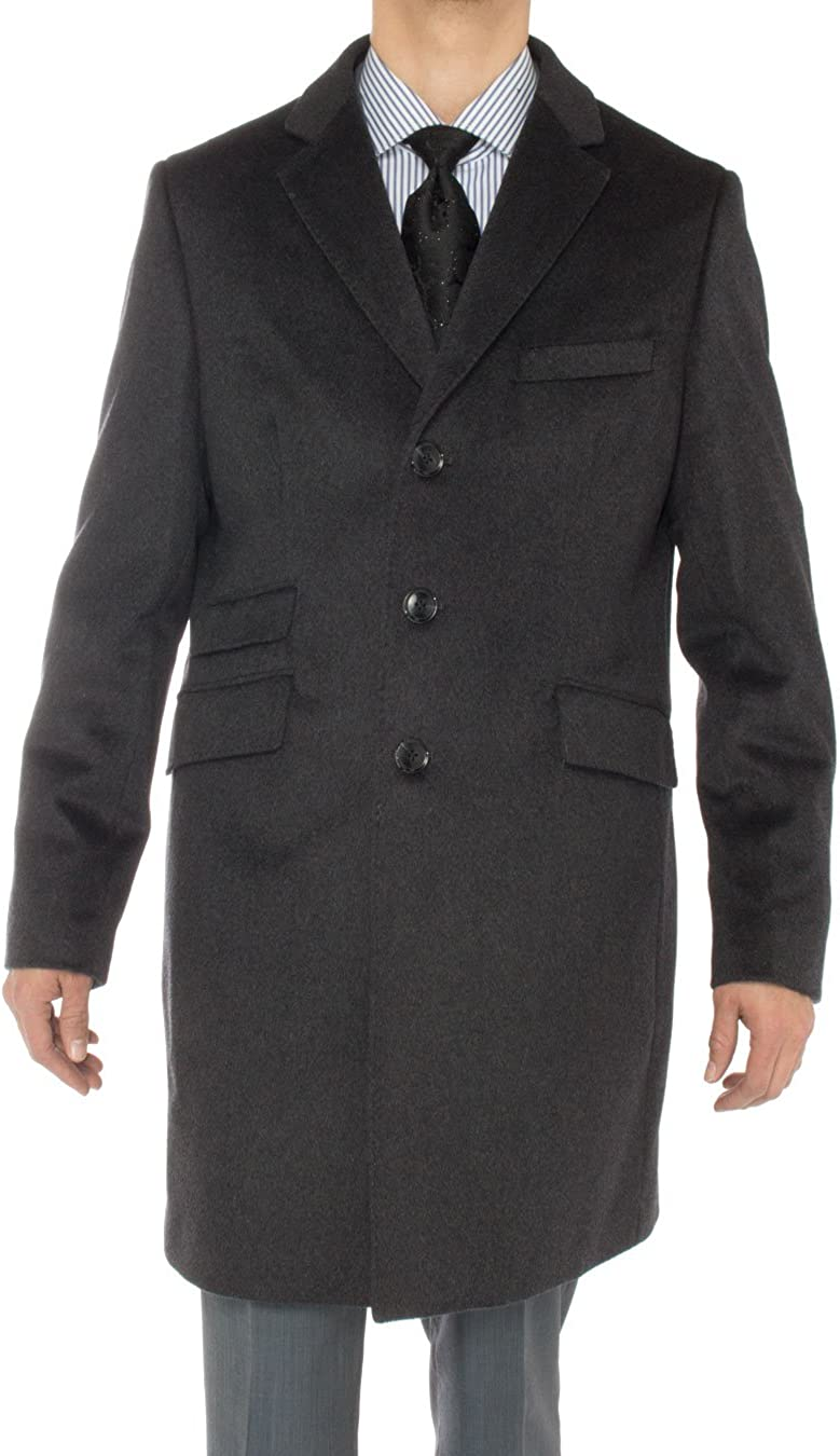 Luciano Natazzi Italian Men's Cashmere Ticket Pocket Top Trench Coat Overcoat